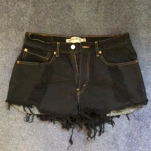 Levi's Distressed Black Jean shorts